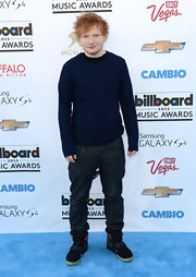 Ed Sheeran chose a dark navy long-sleeve crewneck for his relaxed look at the 2013 Billboard Music Awards.