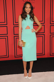 Ashley Madekwe looked totally summery in this scuba dress with a cool cutout detail under the bust.