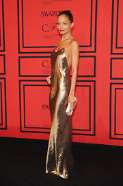 Nicole Richie opted for this metallic bronze spaghetti strap slip dress at the 2013 CFDA Fashion Awards.