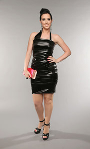 Shawna Thompson showed off her edgy side with a ruched leather frock.