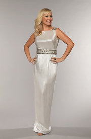 Katie Cook chose a silver column gown with an embellished belt and shoulder straps.