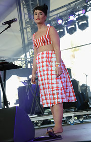 Jessie Ware rocked the red-and-white look at Coachella with this striped crop top and matching checkered skirt.