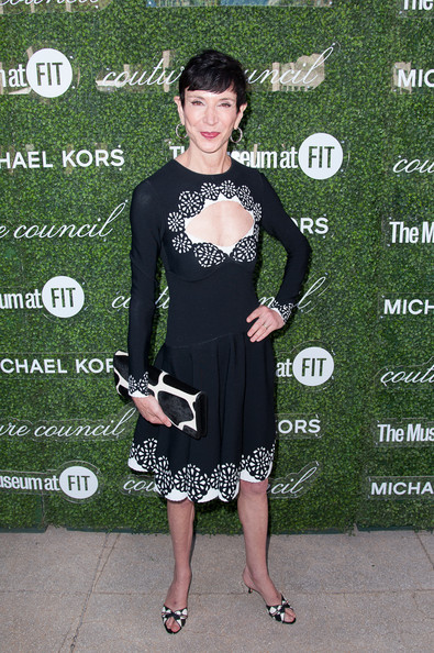 Amy Fine Collins donned a long-sleeve black-and-white cocktail dress with a cleavage-baring cutout for the Couture Council Fashion Visionary Awards.