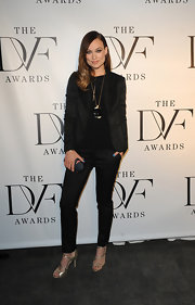 Olivia Wilde looked super snazzy and chic in this black pantsuit, which she sported at the 2013 DVF Awards.