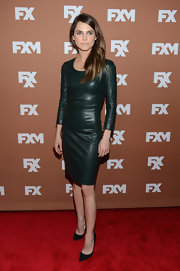Keri Russell chose scoop neck, black leather sheath dress for her red carpet look at FX Upfront Bowling Event.