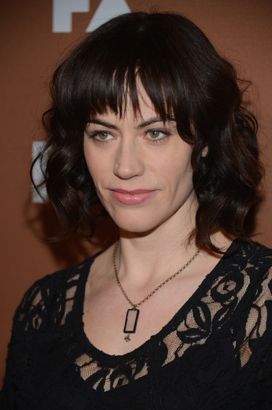 More Pics of Maggie Siff Medium Curls with Bangs (1 of 4) - Shoulder Length Hairstyles Lookbook - StyleBistro