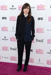 Ellen Page opted for black slacks for her pink carpet look at the Independent Spirit Awards.