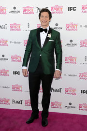 Andy Samberg showed his goofy style with a green tuxedo at the Independent Spirit Awards.