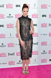 Katie Aselton looked edgy but pretty in a black lace and silk tulle, embroidered dress.