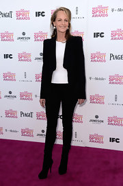 Helen Hunt chose a dark skinny jean for her casual but classy look at the Independent Spirit Awards.
