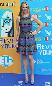 An abstract-print A-line frock kept Mira's look fun and playful at the 2013 Giffoni Film Festival.