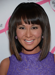 Alina Cho kept her red carpet look sleek and modern with a super straight hairstyle with thick blunt bangs.