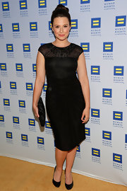 Katie Lowes chose this silk jersey LBD with a sheer neckline and beaded detailing for her look at the Human Rights Campaign Gala.