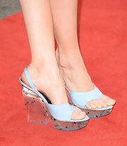 Debby Ryan wore an attention-grabbing pair of sky-blue Giulietta platform sandals featuring chunky lucite heels to the premiere of 'The Way, Way Back.'
