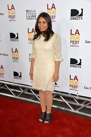 Haifaa Al Mansour chose a white lace frock for her red carpet appearance at the premiere of 'I'm So Excited.'