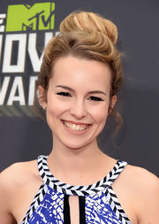 Bridgit Mendler's hair look delicate as a ballerina's with this slightly messy top bun.
