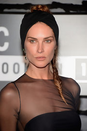 Erin's long braid looked simple at first, but when paired with a black turban her 'do looked red carpet ready.