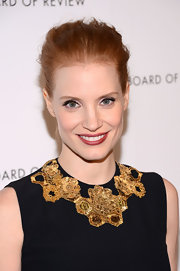 Jessica Chastain brushed her locks back into a loose bun for the National Board of Review Awards.