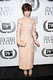 Sally Hawkins went for vintage elegance in a long-sleeve, embroidered pink dress by Emilia Wickstead during the NY Film Critics Circle Awards.