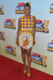 Tatyana Ali showed off her quirky side with this colorful, pattered dress.