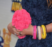 Colorful bangles added color and flare to Bella Thorne's red carpet look.