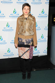 Maggie Gyllenhaal chose a patchwork-style skirt for her unique evening look at Riverkeeper's Fishermen's Ball.