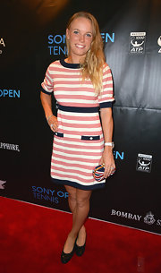 Caroline Wozniacki sported this preppy striped frock for her red carpet look at the Sony Open Player party.