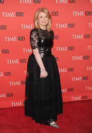 Arianna Huffington's black lace and leather dress gave her a cool and contemporary look at the Time 100 Gala.