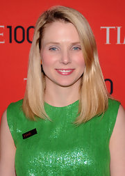 Marissa Mayer kept her beauty look on the minimal side with this shiny pink lip gloss.