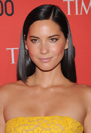 Olivia Munn chose a flesh-toned lip gloss to add some sheen to her natural beauty look at the Time 100 Gala in NYC.