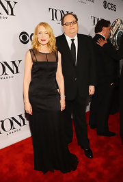 Patricia Clarkson wore a column-style black sleeveless dress to the 2013 Tony Awards.