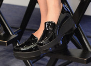 Scarlett Johansson visited the Variety Studio wearing casual black wedge loafers.