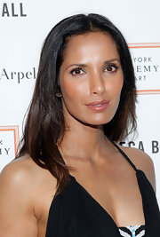 Just a dash of lip gloss was all Padma Lakshmi needed to top off her minimal evening look.