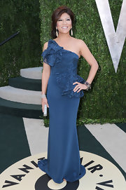 Julie Chen showed off her sophisticated style with this one shouldered gown with ruffle embellishments on the bodice.