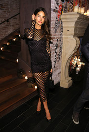 Lily Aldridge went the bondage route in a black mesh dress by Dolce & Gabbana during the Victoria's Secret fashion show after-party.