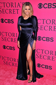 Ciara flaunted some leg in a navy Prabal Gurung evening dress with a thigh-high slit during the Victoria's Secret fashion show.