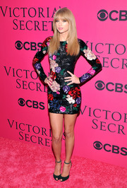 Taylor Swift was equal parts sweet and sexy on the pink carpet in a floral-beaded Zuhair Murad mini dress during the Victoria's Secret fashion show.