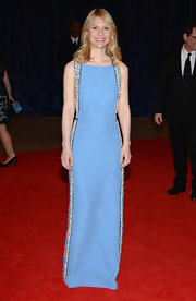 Claire Danes chose this powder blue column-style gown with silver bead detailing on the sides.