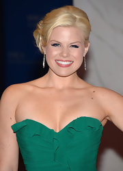 Megan Hilty's platinum locks looked lovely when pinned back into this elegant updo.