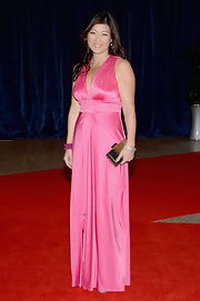 Juju Chen chose this hot pink satin gown for her fun and feminine red carpet look.