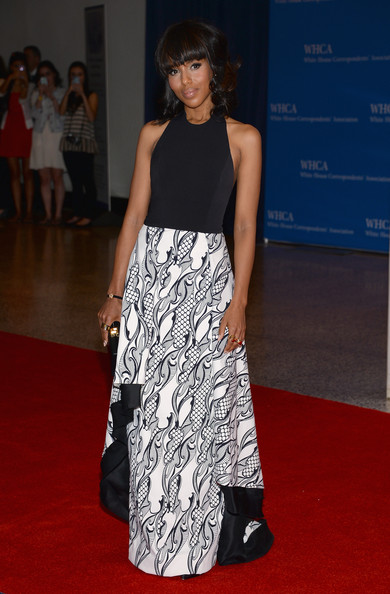 More Pics of Kerry Washington Medium Wavy Cut with Bangs (1 of 7) - Medium Wavy Cut with Bangs Lookbook - StyleBistro
