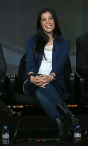 Lisa Ling wore a pair of ultra-stylish but practical leather mid-calf booties at the  Winter TCA tour.
