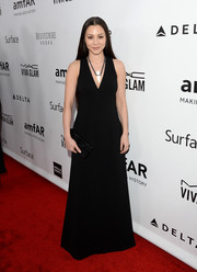 China Chow was all about simple elegance in a black V-neck evening dress at the amfAR Inspiration Gala.