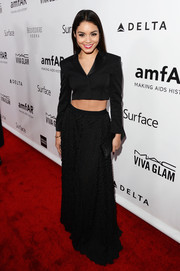 Vanessa Hudgens contrasted her structured top with a flowy black skirt, also by Hugo Boss.