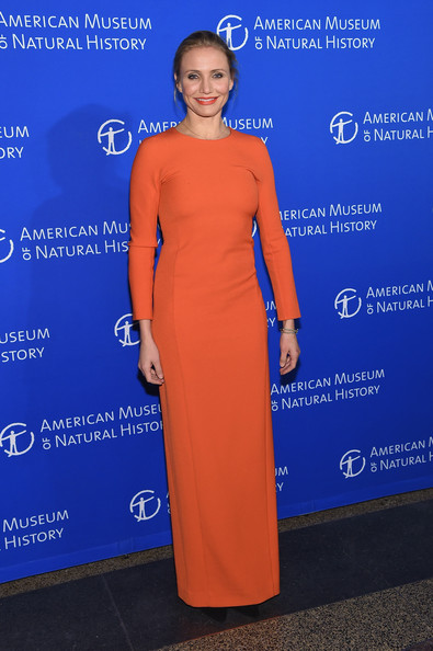 Cameron Diaz kept it minimal yet sophisticated in a long-sleeve orange column dress at the American Museum of Natural History Gala.