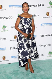 Kerry Washington looked oh-so-ladylike in a floral off-the-shoulder gown by Oscar de la Renta during the Baby2Baby Gala.
