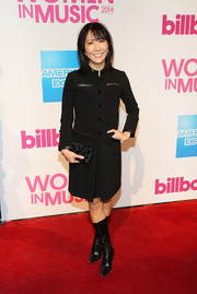 Janice Min was tough-chic in a military-inspired LBD during the Billboard Women in Music luncheon.