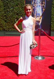 G. Hannelius looked divine in a white Alice + Olivia halter gown during the Creative Arts Emmy Awards.