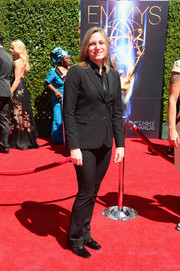 Cindy Holland opted for a basic black pantsuit for her Creative Arts Emmy Awards look.