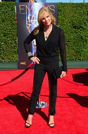 Mariel Hemingway was smart and classy in a sheer black wrap top during the Creative Arts Emmy Awards.